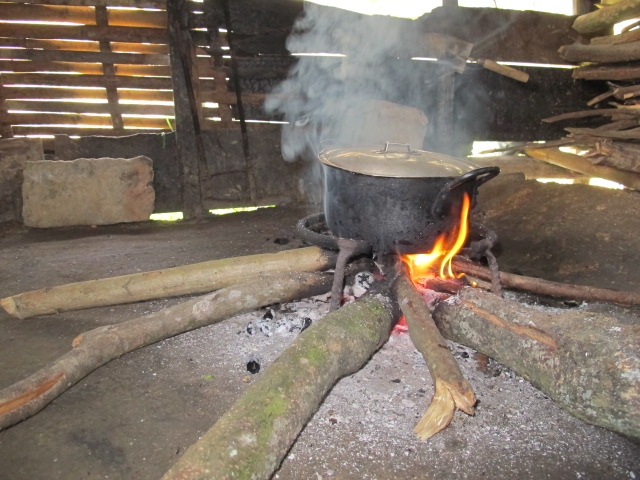 Cooking with open fire is very popular here.